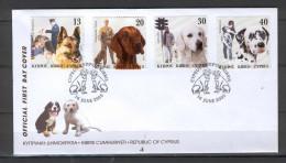 Cyprus 2005 (Vl 889-892) Dogs In Mans Life FDC - Chypre (République)