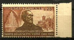 1951 VERDI Val. Da L. 25  Nuovo ** MNH - 1946-47 Corpo Polacco