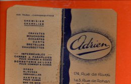 Calendrier - Année 1932 - Publicité ADRIEN - Paris 1er , Rue De Rohan - Dimensions 10.5 X 6.6 Cm - Calendriers