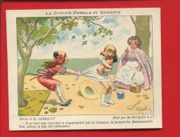 PRIX FIXE Ricqles Superbe CHROMO ENGELMANN CIVILITE PUERILE HONNETE ENFANT POUPEE NOURRICE VIOLENCE  BAGARRE  GERBAULT - Trade Cards