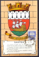 FRANCE CARTE MAXIMUM (maximum Card ) - 220 - BLASON N° 562  Armoiries De Villes. Nantes. EDITION MJ  A2 COTE 50 EUROS - Maximum Cards
