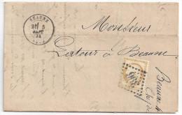CERES N° 55 Sur LETTRE LOCALE De BEAUNE à BEAUNE - Ecrite Par Chef De Gare - Année 1874 - Postmark Collection (Covers)