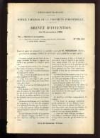 - MARINE ET NAVIGATION . BOUEE DE SAUVETAGE . BREVET D´INVENTION DE 1902 . - Techniek & Instrumenten