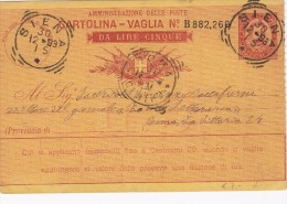 SIENA 1893 - CARTOLINA VAGLIA DA LIRE 5 - SX046 - Interi Postali