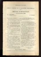 - BICYCLETTES. MOTOCYCLETTES . COMMANDE DE FREIN . BREVET D´INVENTION DE 1902 . - Motor Bikes
