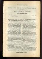 - VOITURES . CAPOTES DE VOITURES . BREVET D�INVENTION DE 1902 .