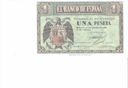 SPAIN 1938- REPLICA - REPRODUCCION  - ESCUDO ESPAÑA  -BILL OF 1 PTA ISSUED APR 30,1938 RE 47/2 PERFECT - [ 8] Fakes & Specimens