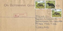 Botswana 1994 Gaborone Warthog Mongoose Official Barcoded Registered Cover - Botswana (1966-...)