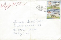 Malawi 1990 Zomba Capital Hill Flag Independence Special UNDP Handstamp Cover - Malawi (1964-...)