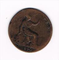 *** GREAT BRITAIN  1/2 PENNY 1890  VICTORIA - 1816-1901: 19. Jh.