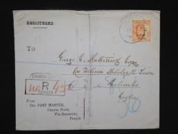 GRANDE -BRETAGNE - INDE - Enveloppe En Recommandée De Chamba Pour Colombo En 1908 - Aff Plaisant - à Voir - P7919 - 1902-11 King Edward VII