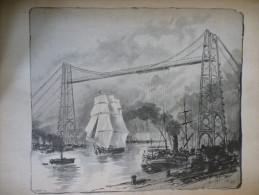 Rouen , Le Nouveau Pont Transbordeur , Gravure De Sgap D'aprés Dessin De J Adeline 1899 - Affiches