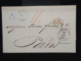 RUSSIE -Lettre ( Avec Texte De Banque Privée) De St Petersbourg Pour Paris En 1868 - à Voir- P7933 - 1857-1916 Imperium