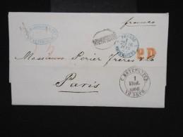 RUSSIE -Lettre ( Avec Texte De Banque ) De St Petersbourg Pour Paris En 1868 - à Voir- P7934 - Briefe U. Dokumente