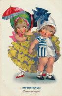"""ENFANTS - LITTLE GIRL - MAEDCHEN - Jolie Carte Fantaisie Fillettes """"Impertinence """" - Dessins D'enfants"""