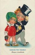 """ENFANTS - LITTLE GIRL - MAEDCHEN - Jolie Carte Fantaisie Enfants Amoureux """"Looking For Trouble ! """" - Dessins D'enfants"""