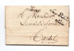"""!!! MARQUE POSTALE DE ST SEVER (LANDES) + FRANCHISE """"LE SOUS PREFET DE ST SEVER"""" SUR LETTRE DE 1807 - Marcophilie (Lettres)"""
