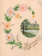 CARTE DESSIN Crayonné - Souvenirs - Fait Main - Signée Emaire - Fleurs Gaufrée Et Paysage En Médaillon - Old Paper
