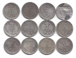 VITT. EM. III� 1900-1943 1 LIRA AQUILA SABAUDA 1906-1907 + QUADRIGA VELOCE 1908 RARA 12 MONETE D.5535-5546
