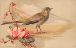 "¤¤   -  Carte D'Illustrateur Style "" Klein ""  -  Oiseau , Fleurs   -   ¤¤ - Birds"