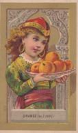 Chromo 1900 Orange (fruit) De L'Inde :au Dos Publicité Horlogerie à Chateauneuf (eure Et Loir) - Autres