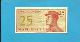 INDONESIA - 25 SEN - 1964 - P 93 - UNC. - Série CTW - A Volunteer Man In Uniform - 2 Scans - Indonesia