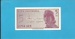 INDONESIA - 5 SEN - 1964 - P 91 - UNC. - Série XAG - Replacement - Female Volunteer In Uniform - 2 Scans - Indonésie