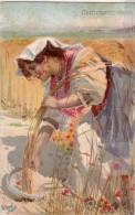 BASILIO CASCELLA ILLUSTR. VG- 1909 -LAZIO-MIETITRICE-GRANO-AUGURI CASE PANE -PATRONATO REGINA MADRE PERFETTO STATO - Altre Illustrazioni