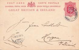 Great Britain & Irland 1910 - One Penny Ganzsache Auf Pk Gel.v.London N.Horgen
