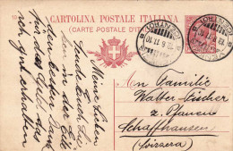 ITALIEN 1910 - 10 Centisimi Ganzsache Auf Pk Gel.v.Venezia N.Schaffhausen - 1900-44 Victor Emmanuel III.