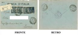 RACCOMANDATA BUSTA VIAGGIATA 1927 BANCA D'ITALIA FILIALE DI MASSAUA (ERITREA) FRANCOBOLLI VALORI:  3 X REGNO D'ITALIA CO - Storia Postale