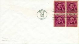 USA BOSTON MASS. - 3 Cent 4er Block Auf First Day Cover 1940 - Vereinigte Staaten