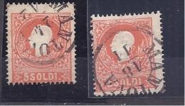 Austria1861-2: Lombardy&Venetia 9 I & 9 II Used - Occupazione Austriaca