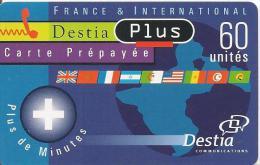 CARTE-PREPAYEE-60U--DESTIA-PLUS-TERRE-BLEU-R°GLACE-V°-50F-G N°Lasers-TBE- - Autres Prépayées