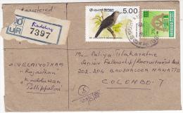 REGISTERED Kadduwan  SRI LANKA COVER  Stamps STARLING BIRD  Birds - Sri Lanka (Ceylon) (1948-...)