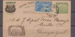 O) 1898 PERU, POSTAL STATIONARY WITH UPRATE 1 CTVO BRIDGE, AND 2 CTS BROWN TO GUAYAQUIL ECUADOR XF - Peru
