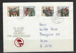 DDR - Beleg Mi-Nr. 3177 - 3180 - 35 Jahre Kampfgruppen (2) - Lettere