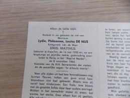 Doodsprentje Lydie Philomena Louise De Nijs Kapellen 14/5/1935 Parijs 8/11/1965 ( Emiel Matthijs ) - Religion & Esotericism