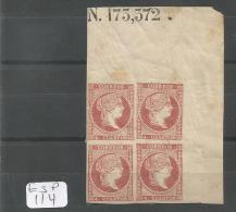 ESP  Edifil  48C Bloc De 4, Coin De Feuille, Numéro De Feuille Xx LUXE YT 43A - 1850-68 Royaume: Isabelle II