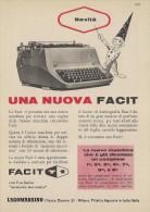 # FACIT LAGOMARSINO MACCH.SCRIVERE  1950s Advert Pubblicità Publicitè Reklame Typewriter Machine Ecrire Schreibmaschine - Altri