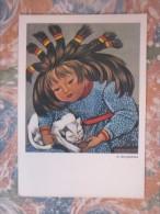 ART STRYJENSKA GIRL WITH CAT - Polonia