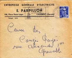 1955 - Lettre à Entête Commerciale - Entreprise Générale D'électricité Parpillon à Chambéry En Savoie - FRANCO DE PORT - Electricité & Gaz