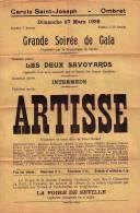 RARE ANCIEN AFFICHE POSTER OMBRET LIEGE 1938 CERCLE SAINT - JOSPEH GRAND SOIREE DE GALA ARTISSE - Amay