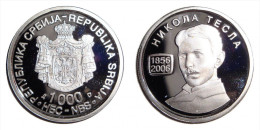 SERBIA 1000 Dinara 2006. NIKOLA TESLA Commemorative Coin UNC SILVER PROOF - Serbia