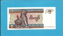 MYANMAR ( Old BURMA )- 5 KYATS -  ND (1997 ) - P 70.b - UNC. - Serie AJ - 2 Scans - Myanmar