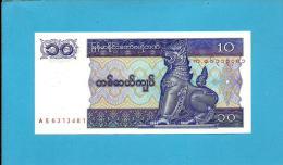 MYANMAR ( Old BURMA )- 10 KYATS -  ND (1997 ) - P 71.b - UNC. - Serie AS - 2 Scans - Myanmar