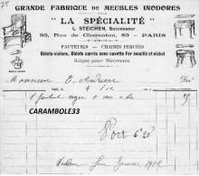 Correspondance Facture  GRANDE FABRIQUE DE MEUBLES INODORES  LA SPECIALITE  PARIS 1911 - Other