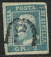 1859 - SICILIA - 2 GRANA - FALSO RETINATO - USATO - PER STUDIO E CONFRONTO - SPL - Sicilia