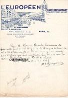 Correspondance Facture L'EUROPEEN CAFE RESTAURANT PARIS 1937 - Alimentaire