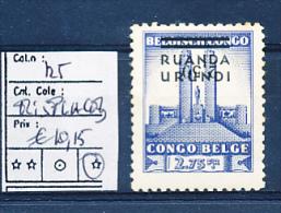 RUANDA URUNDI 1941 ISSUE MEMORIAL ALBERT I COB 1256 LH MISPLACED OVERRPRINT